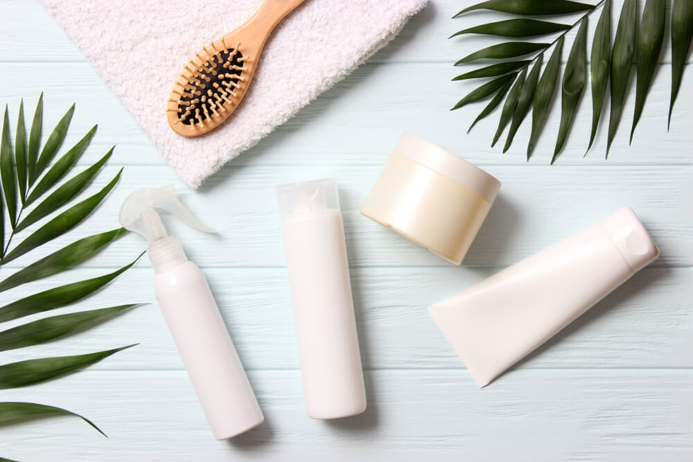 Hair products in blank packaging