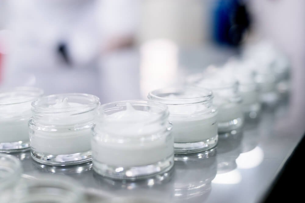 Skincare products in factory